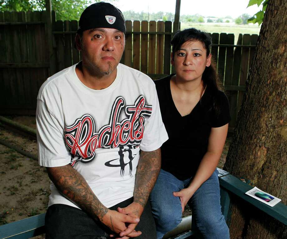"Sanjuana Gonzales Aguilar, right, was groped in May 2011 by a deputy at the Harris County Jail. ""I was furious,"" said her husband, Frank Aguilar, left, ""They should have only women working on that floor."" Photo: James Nielsen / © Houston Chronicle 2012"