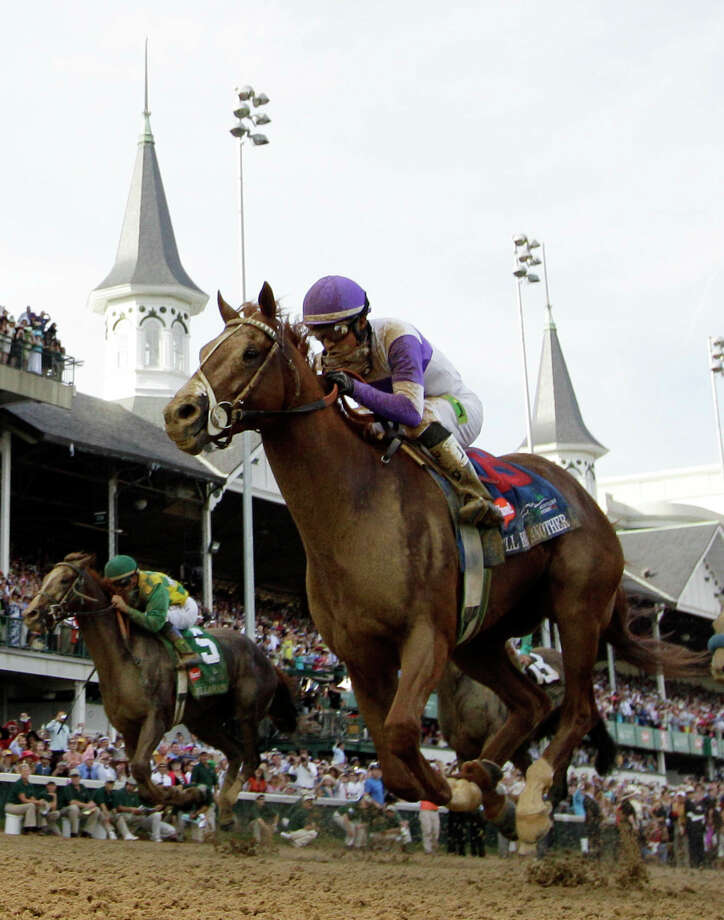 Jockey Mario Gutierrez rides I'll Have Another to victory in the 138th Kentucky Derby horse race at Churchill Downs Saturday, May 5, 2012, in Louisville, Ky. (AP Photo/David J. Phillip) Photo: David J. Phillip, Associated Press / Copyright 2012 The Associated Press. All rights reserved. This material may not be published, broadcast, rewritten or redistribu