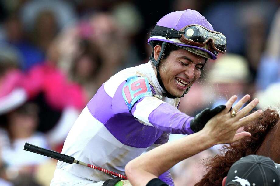 LOUISVILLE, KY - MAY 05:  Mario Gutierrez celebrates atop I'll Have Another after winning the 138th running of the Kentucky Derby at Churchill Downs on May 5, 2012 in Louisville, Kentucky. Photo: Matthew Stockman, Getty Images / 2012 Getty Images