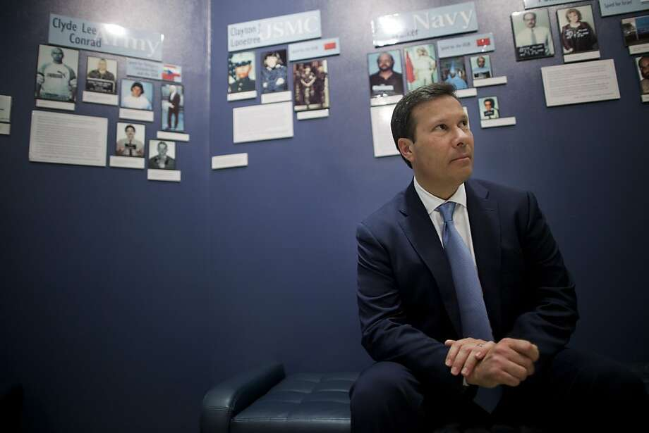 Frank Figliuzzi, assistant director for counterintelligence with the Federal Bureau of Investigation (FBI), sits for a photograph in front of a wall of convicted spy profiles at FBI headquarters in Washington, D.C., U.S., on Thursday, March 29, 2012. While overshadowed by espionage against by foreign countries to penetrate U.S. universities have increased in the past five years, Figliuzzi said. Photographer: Andrew Harrer/Bloomberg *** Local Caption *** Frank Figliuzzi Photo: Andrew Harrer, Bloomberg