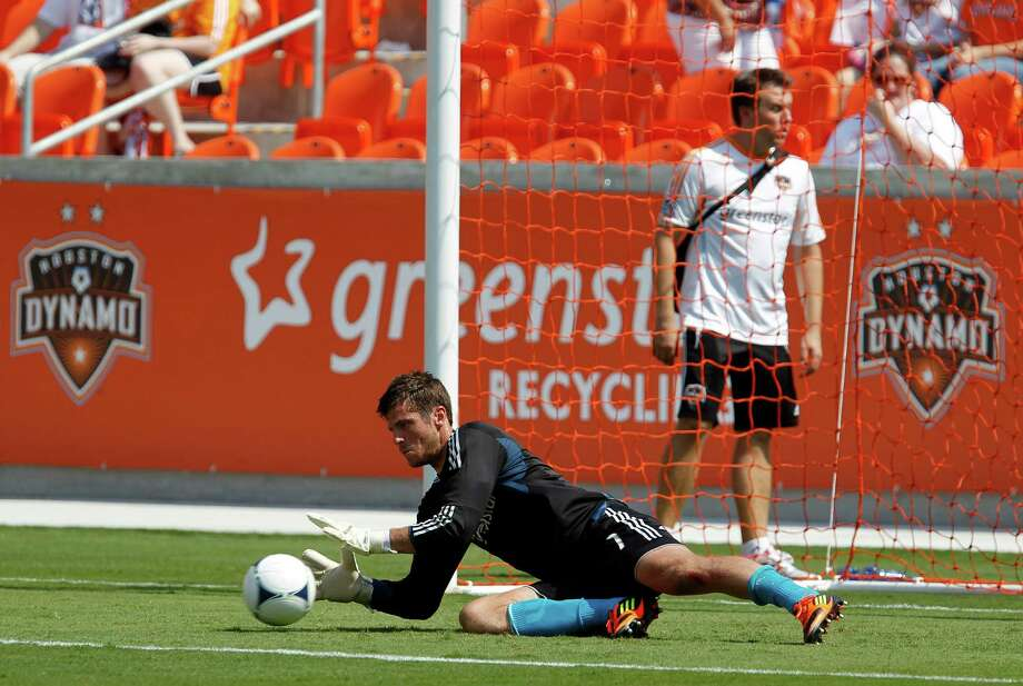 Houston Dynamo goalkeeper Tally Hall during the Houston Dynamo soccer team practice at BBVA Compass Stadium Saturday, May 5, 2012, in Houston. Photo: James Nielsen, Chronicle / © Houston Chronicle 2012