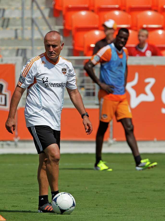 Houston Dynamo head coach Dominic Kinnear during the Houston Dynamo soccer team practice at BBVA Compass Stadium Saturday, May 5, 2012, in Houston. Photo: James Nielsen, Chronicle / © Houston Chronicle 2012