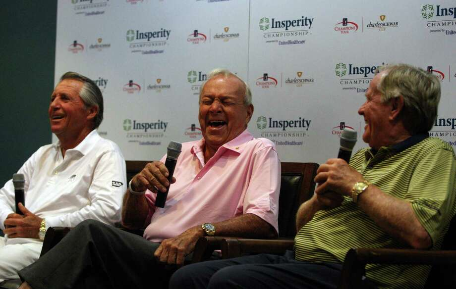 Arnold Palmer (center) laughs along with Gary Player (left) and Jack Nicklaus during their press conference before the second round of the Insperity Championship, Saturday, May 5, 2012 at the Tournament Course in The Woodlands, TX. The three along with Lee Trevino played a nine-man scramble. Photo: Eric Christian Smith, For The Chronicle