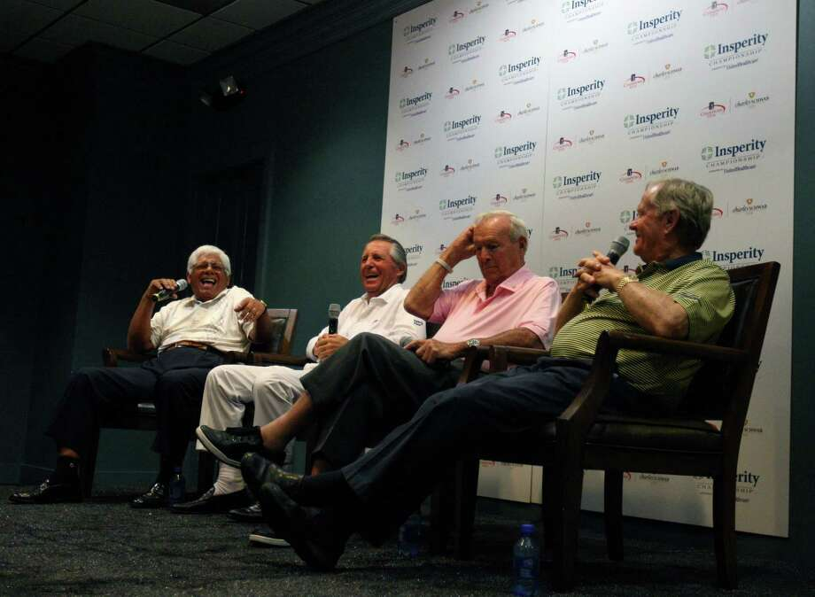 Lee Trevino (left) jokes with (l to r) Gary Player, Arnold Palmer and Jack Nicklaus during their press conference before the second round of the Insperity Championship, Saturday, May 5, 2012 at the Tournament Course in The Woodlands, TX. The four along with five others played a nine-man scramble after the leaders teed off. Photo: Eric Christian Smith, For The Chronicle