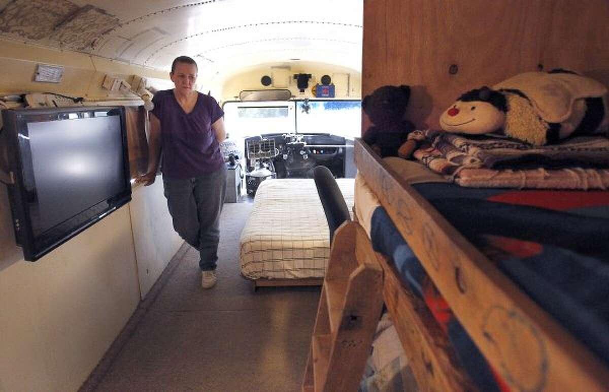 Shorten shows the progress she's making in renovating the bus. (Karen Warren / Houston Chronicle)