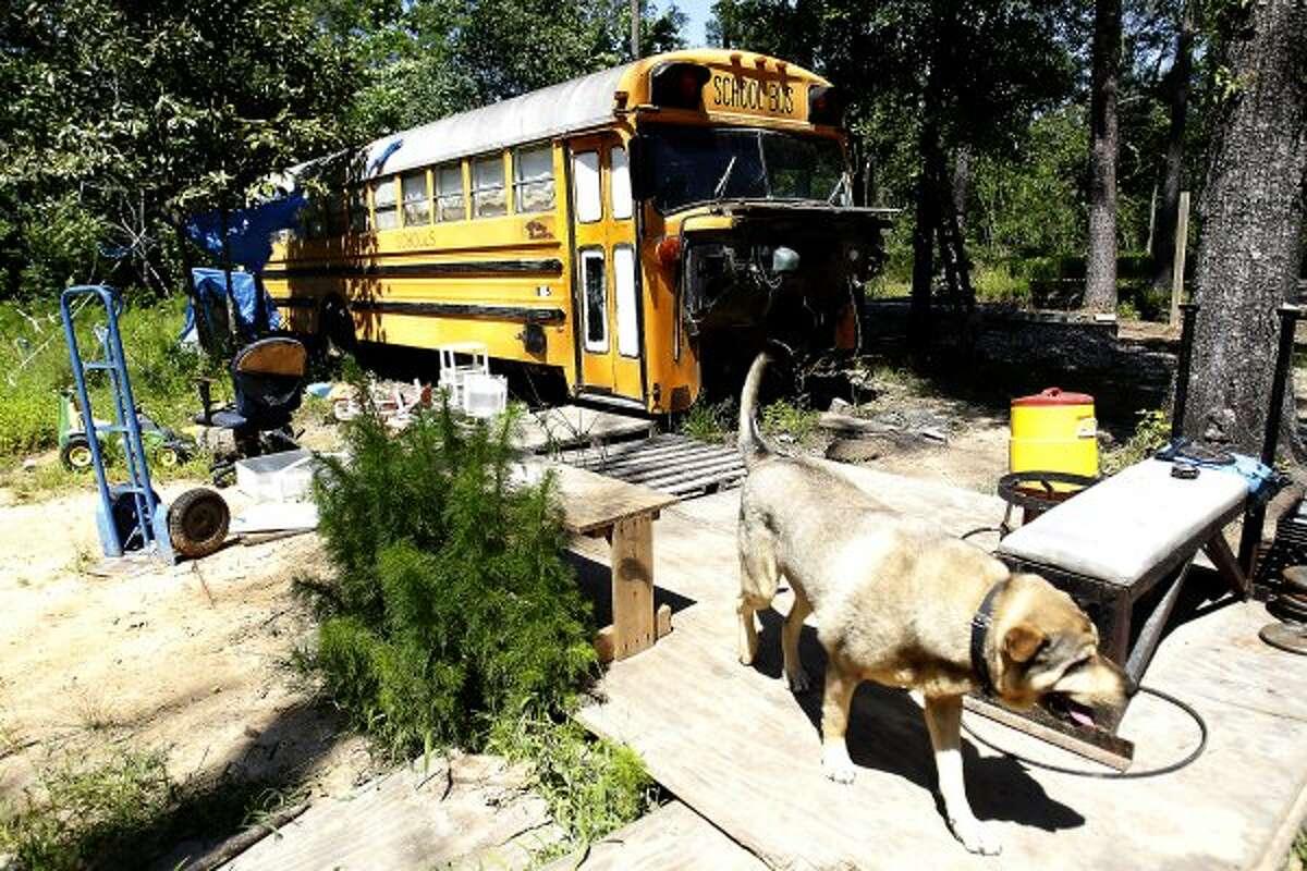 The children were found mostly unattended on this bus in Splendora in March. (Karen Warren / Houston Chronicle)