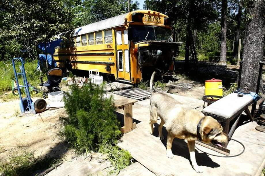 The children were found mostly unattended on this bus in Splendora in March. (Karen Warren / Houston Chronicle)