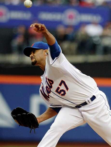 Former Cy Young winner Mets Johan Santana got his first win since 2010. Photo: AP