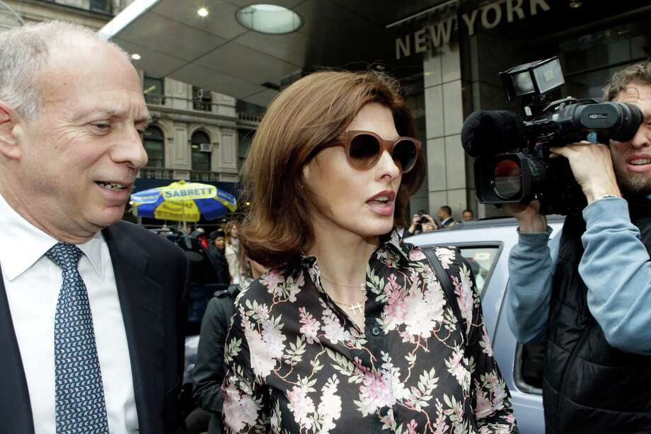 Linda Evangelista leaves Manhattan Family Court Thursday, May 3, 2012, in New York. Evangelista is demanding that ex-boyfriend Francois-Henri Pinault pay child support for their 5-year-old son. (AP Photo/Frank Franklin II) Photo: Frank Franklin II / AP