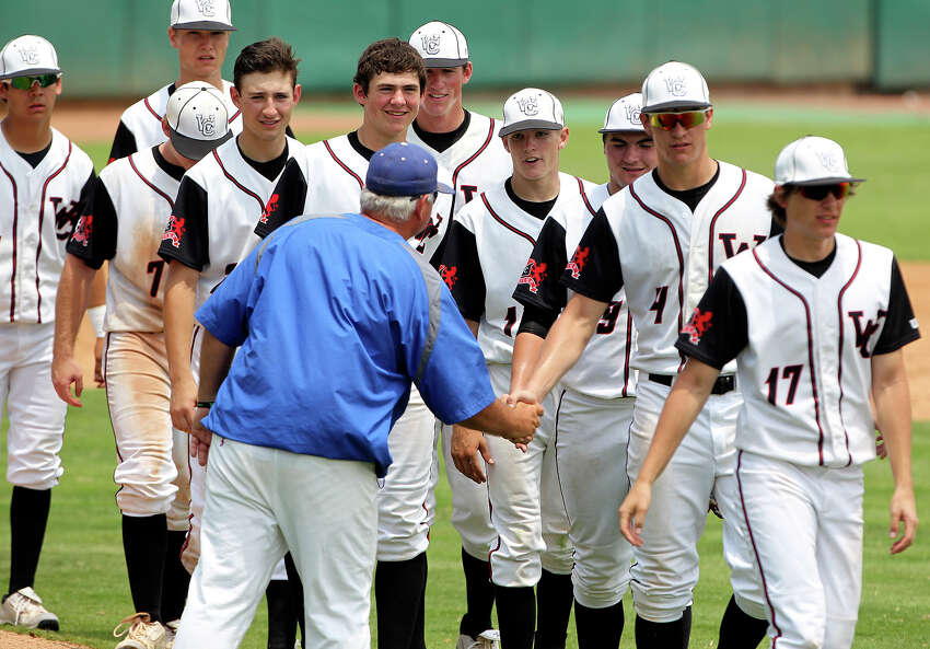 Charger players get a handshake from the Unicorn coach as Churchill beats New Braunfels 6-5 in baseball playoff action at Wolff Stadium on May 5, 2012. Tom Reel/ San Antonio Express-News