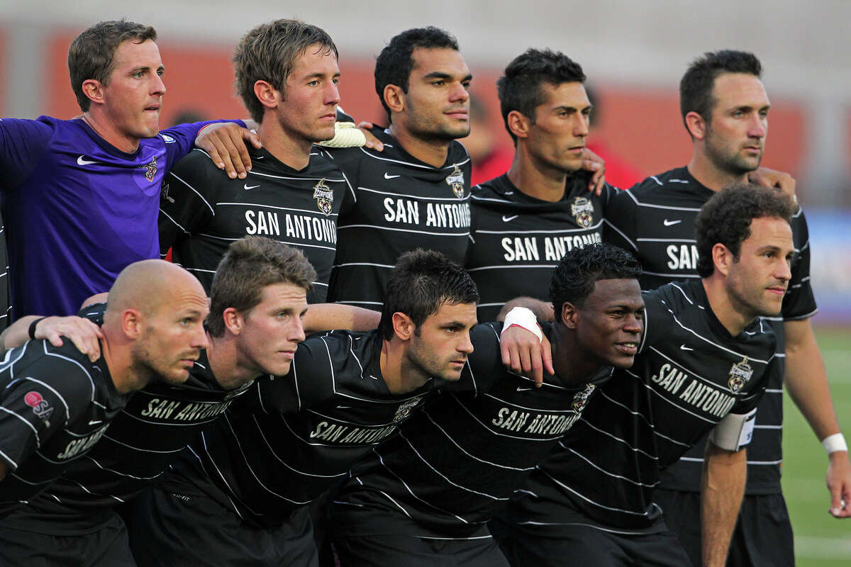 The Scorpions gather before the game for a team picture as the Scorpions host Tampa Bay in NASL action at Heroes Stadium on May 5, 2012. Tom Reel/ San Antonio Express-News