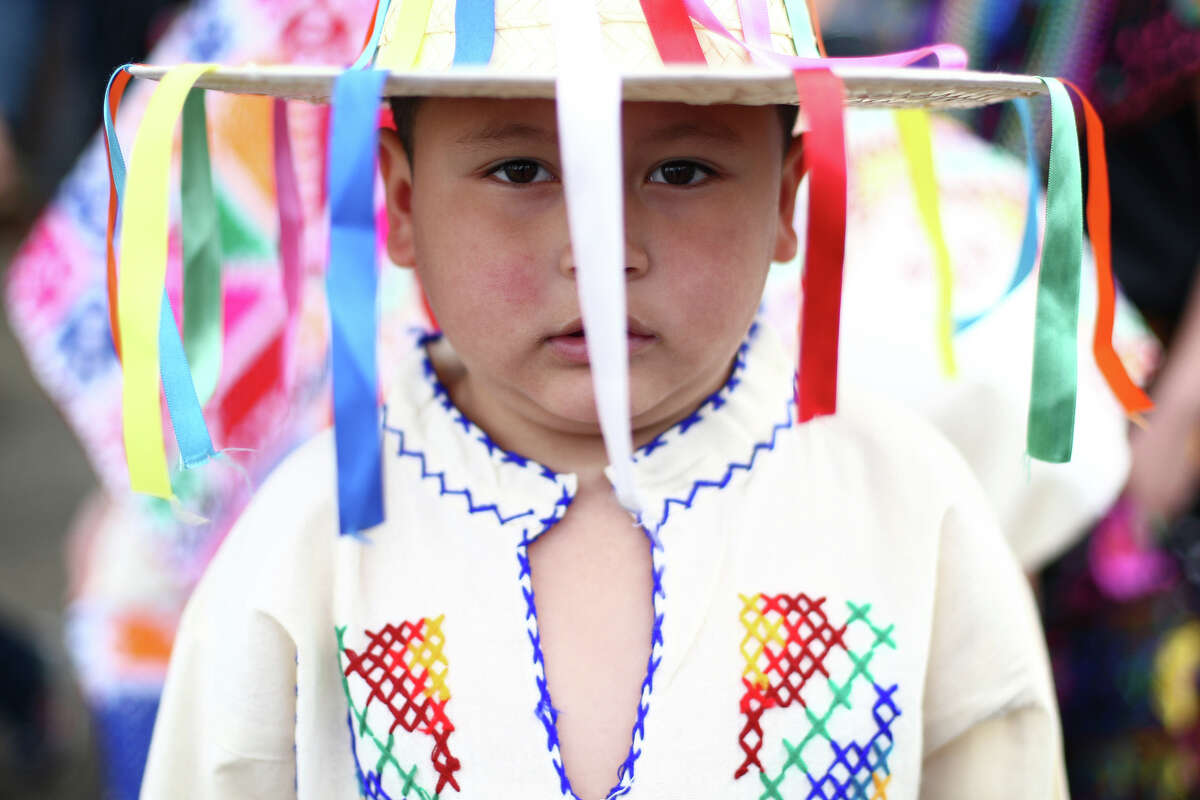 Anthony Orta, 5, wears a traditional costume during a Cinco de Mayo celebration at El Centro de la Raza in Seattle on Saturday, May 5, 2012.