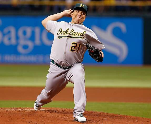 Pitcher Bartolo Colon #21 of the Oakland Athletics pitches against the Tampa Bay Rays during the game at Tropicana Field on May 5, 2012 in St. Petersburg, Florida. Photo: J. Meric, Getty Images
