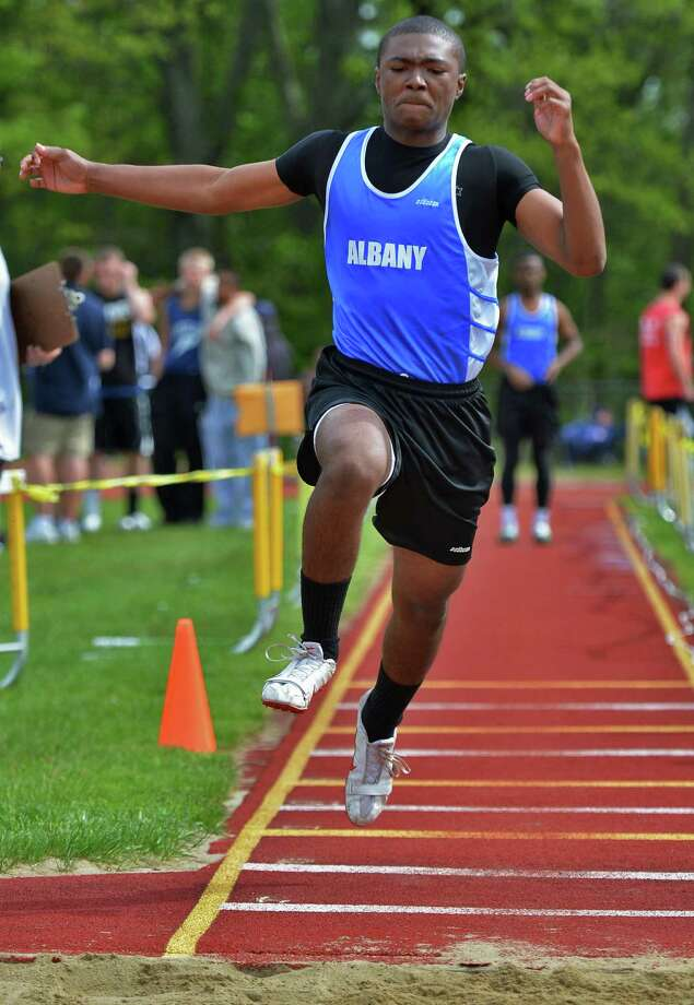 Albany Hgh's Lawan Canceo competes in the triple jump at the Colonie Relays at Colonie High Saturday May 5, 2012.   (John Carl D'Annibale / Times Union) Photo: John Carl D'Annibale / 00017535A