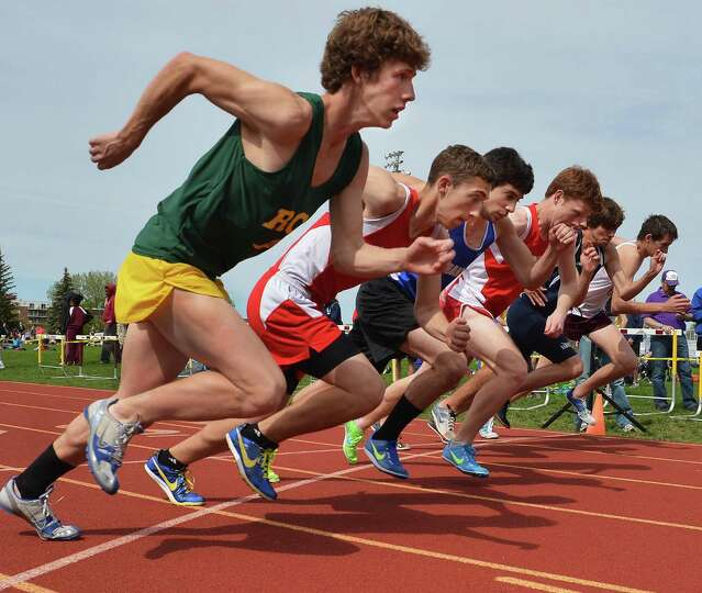 Start of the boys' 1600 meters at the Colonie Relays at Colonie High Saturday May 5, 2012.   (John C