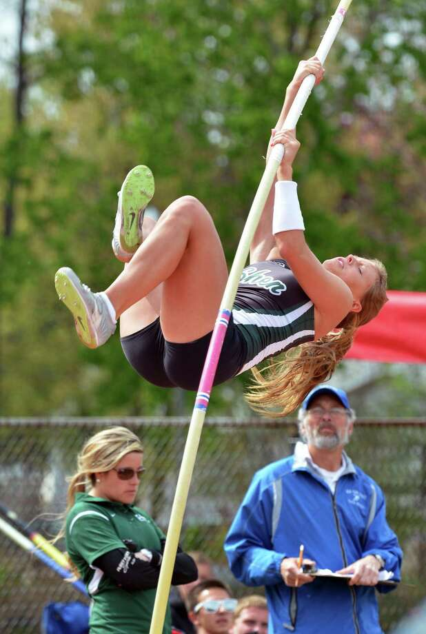 Shen pole vaulter Maddesen Weekes competes at the Colonie Relays at Colonie High Saturday May 5, 2012.   (John Carl D'Annibale / Times Union) Photo: John Carl D'Annibale / 00017535A