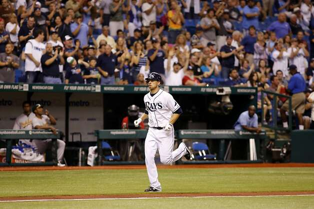 Tampa Bay Rays Ben Zobrist heads for home after hitting a home run against the Oakland Athletics in the fourth inning of a baseball game, Saturday, May 5, 2012, in St. Petersburg, Fla. Photo: Scott Iskowitz, Associated Press