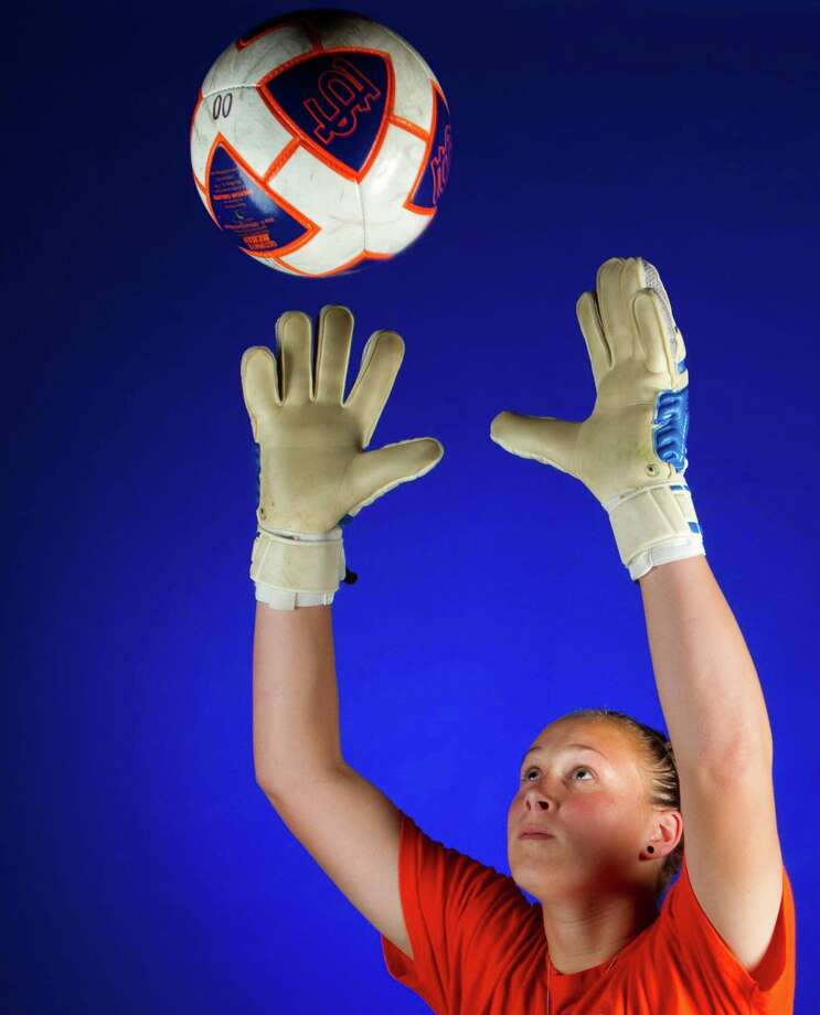 """Seven Lakes goalie Kylie Hambleton is known for her grace under pressure. """"It just makes me want to do my best,"""" she says. Photo: Cody Duty / © 2011 Houston Chronicle"""