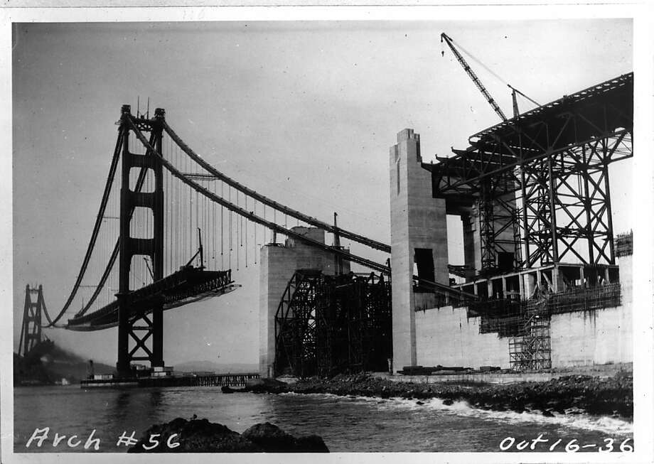 October 16, 1936 Construction of the Golden Gate Bridge. Photo: -
