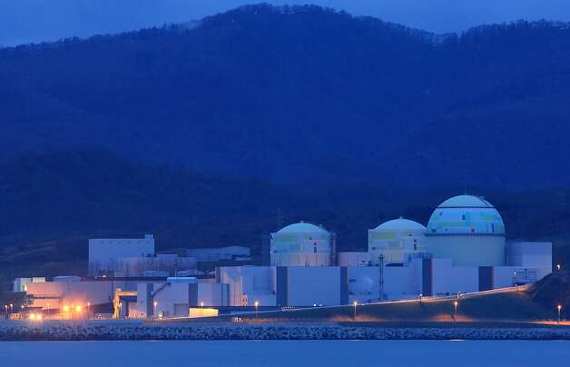 Hokkaido Electric Power Co.'s Tomari nuclear power plant stands at night in Tomari Village, Hokkaido, Japan, on Saturday, May 5, 2012. Japan will have no nuclear-generated electricity for the first time in more than four decades tonight after its sole operating power reactor is halted for scheduled maintenance. Photo: Tomohiro Ohsumi, Bloomberg