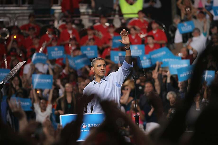 President Barack Obama speaks to supporters at a campaign rally at Ohio State University on May 5, 2012 in Columbus, Ohio. The rally officially kicks off the president's 2012 campaign for reelection. Photo: Scott Olson, Getty Images