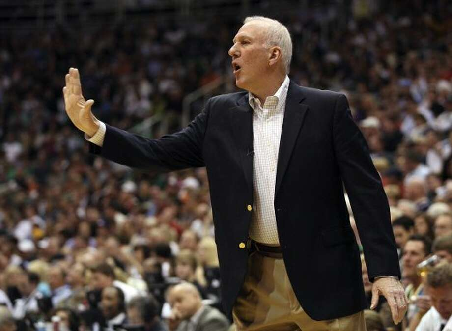 Spurs coach Gregg Popovich calls play during the second half of game three of the Western Conference first round at EnergySolutions Arena in Salt Lake City,  Saturday, May 5, 2012.  The Spurs beat the Utah Jazz, 102-90, and lead the series 3-0. Jerry Lara/San Antonio Express-News (Jerry Lara / San Antonio Express-News)