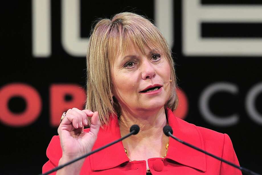 (FILES) This February 16, 2011 file photo shows CEO of Yahoo, Carol Bartz, speaking at the Mobile World Congress in Barcelona. Yahoo! announced September 7, 2011 that Carol Bartz has been removed as chief executive of the struggling Internet company. Yahoo! said chief financial officer Timothy Morse had been named interim chief executive while the board of directors searches for a replacement for Bartz.  AFP PHOTO / JOSEP LAGO / FILES (Photo credit should read JOSEP LAGO/AFP/Getty Images) Photo: Josep Lago, Getty
