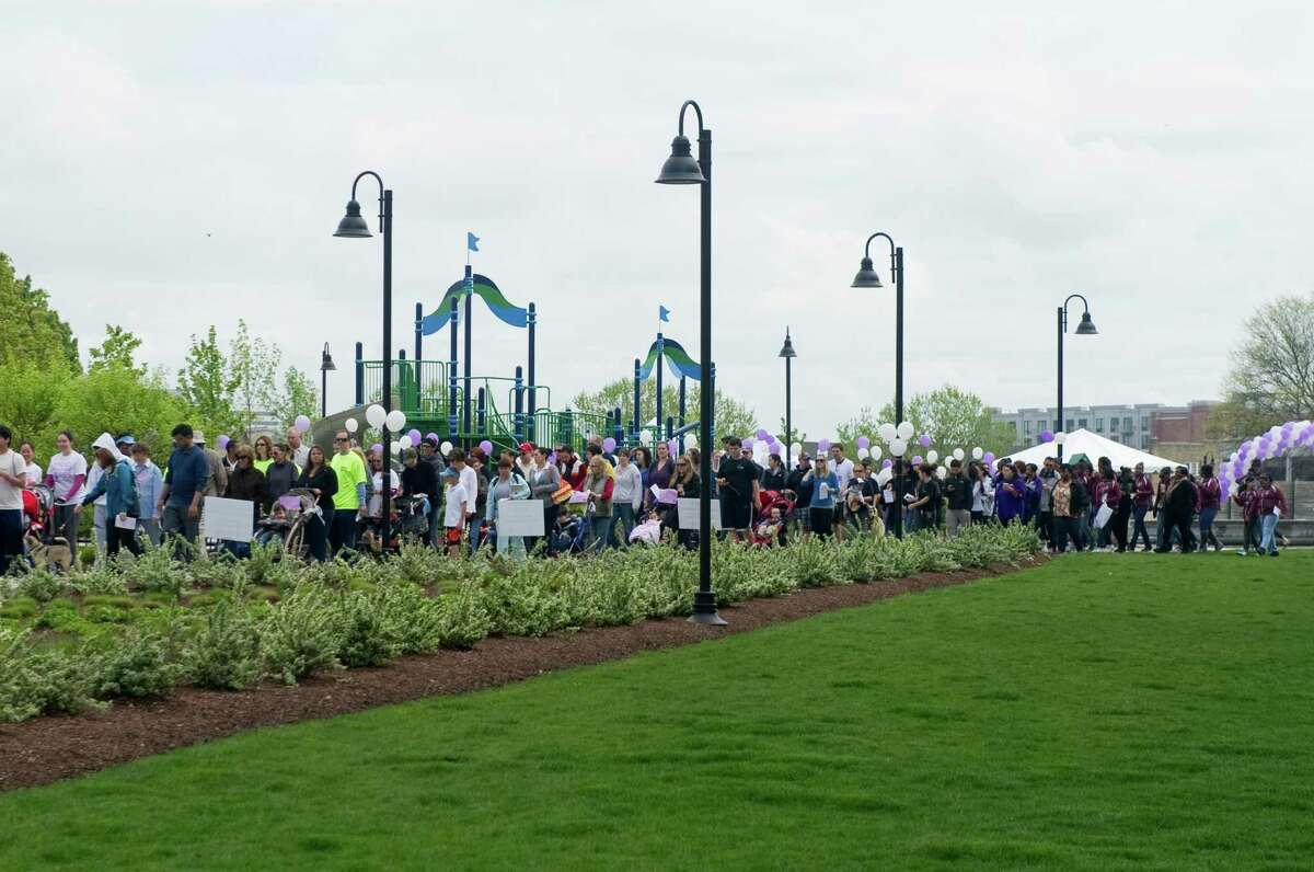 The March for Babies sets out Commons Park at Harbor Point in Stamford, Conn., May 6, 2012. Roughly 500 people walked a three mile loop around the south end for the event, which is the March of Dimes walk fundraiser for babies. Funds raised will go to programs that support prenatal wellness programs, research grants and neonatal intensive care units.