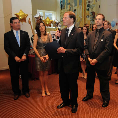 United States Senator Richard Blumenthal speaks during a benefit for Dana's Angels Research Trust (DART) at the Palace Theatre on Saturday, May 5, 2012. Photo: Lindsay Niegelberg / Stamford Advocate