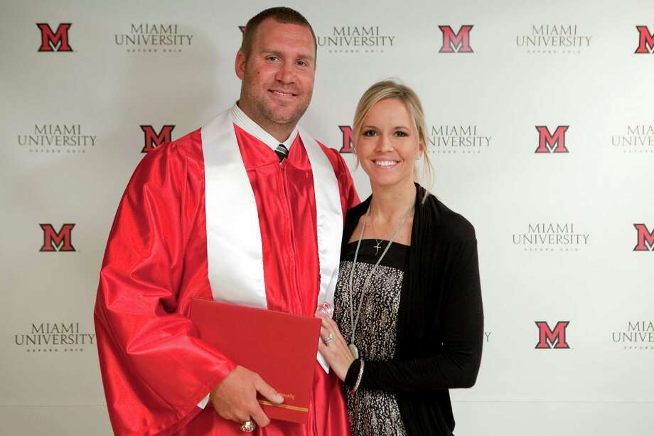 In this photo provided by Miami University, Pittsburgh Steelers quarterback Ben Roethlisberger poses with his wife, Ashley Harlan, after receiving his bachelor's degree in education during a commencement ceremony at the campus, Sunday, May 6, 2012, in Oxford, Ohio. Roethlisberger played football for Miami from 2001 to 2003, setting several school passing records, and over the course of several years completed the remaining courses necessary to graduate nine years after leaving for the NFL. (AP Photo/Miami University, Jeff Sabo) Photo: Jeff Sabo / 2012 copyright ALL RIGHTS RESERVED Miami University