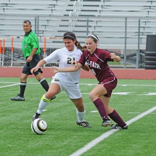 Gabby Rodriguez (21), D, Sr., Klein Oak  (L. Scott Hainline / For The Chronicle)