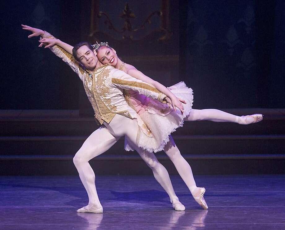 CAPTIONS (All photos by Robert Shomler)  Sascha Radetsky (as Prince Charming) and Alexsandra Meijer (as Cinderella) share a pas de deux in Ballet San Jose's production of Ben Stevenson's CINDERELLA. Photo: Robert Shomler