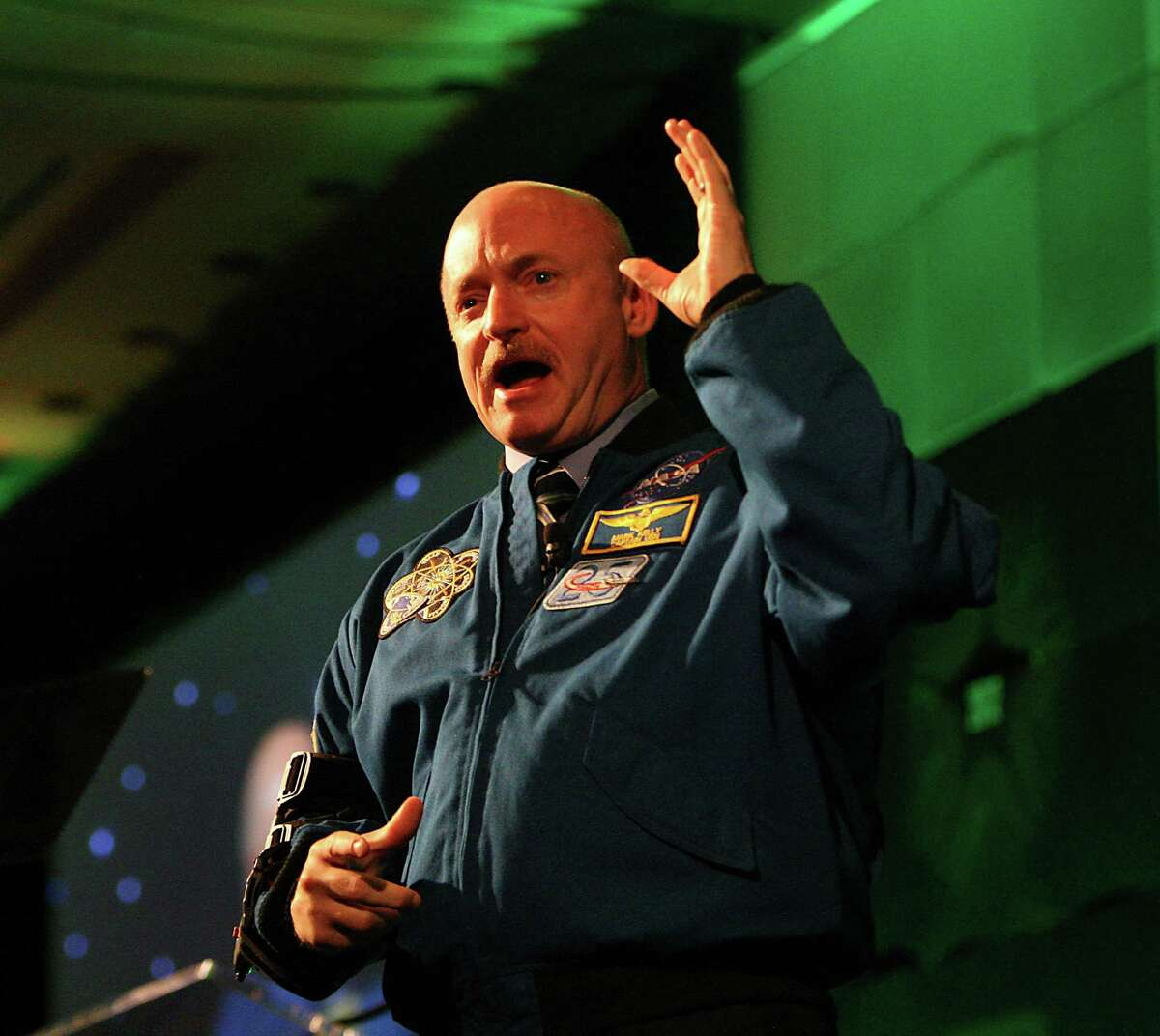 Commander Mark Kelly delivers the keynote speech during the 2012 H-E-B Excellence in Education Awards at the InterContinental Hotel, Sunday, May 6, 2012, in Houston. Now in its 11th year, the program added a new Early Childhood Award to support public and private schools and not-for-profit learning agencies that focus on kinder readiness and the care of children under five.
