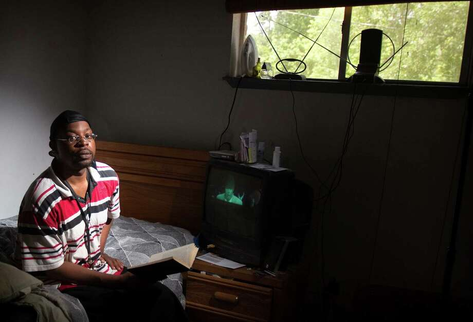 Edwin Dansby, 36, a resident of Jackson Hinds Gardens, says he probably would still be on the streets if there hadn't been an opening at the permanent supporting apartment complex, which helped him stabilize his life. Photo: Cody Duty / © 2011 Houston Chronicle