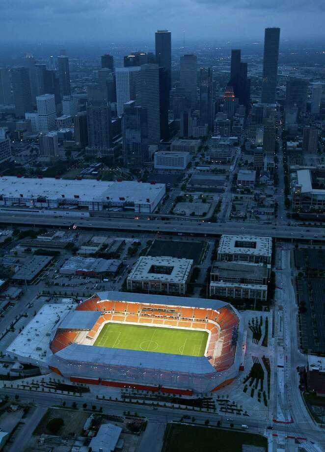 Dynamo stadium Aerial photos Sunday, April 29, 2012, in Houston. Photo: James Nielsen, Chronicle / © 2012 Houston Chronicle