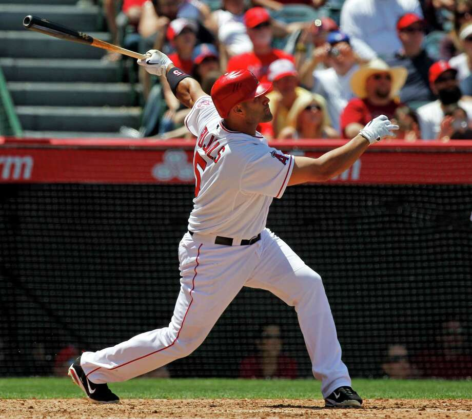 Albert Pujols hit his first regular-season homer since joining the Angels, ending the longest drought of his 12-year career after 33 games and 139 at-bats. Photo: Chris Carlson / AP