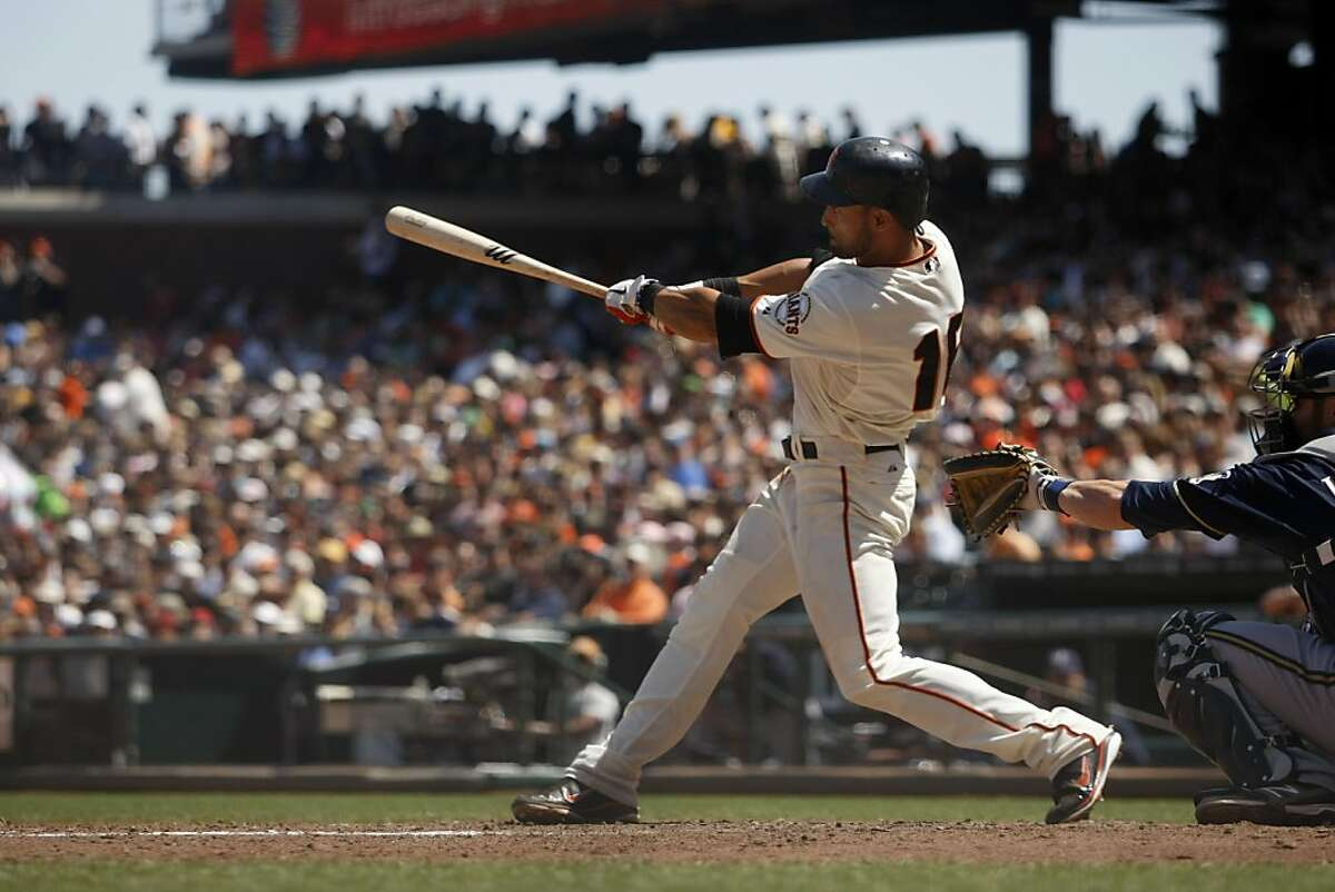 Angel Pagan extended his 20 game hitting streak. The Milwaukee Brewers played the San Francisco Giants on Sunday, May 6, 2012.