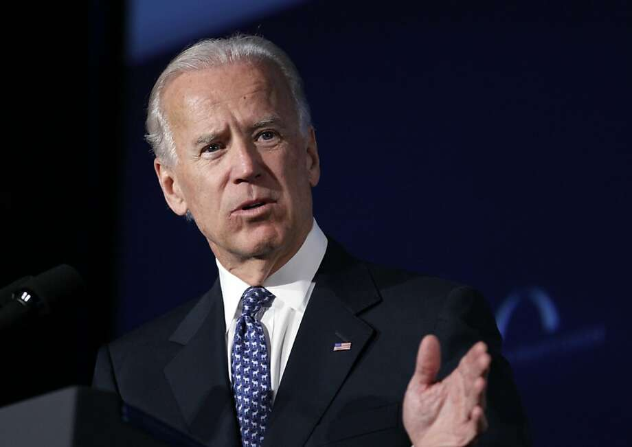 """FILE - In this March 21, 2012 file photo, Vice President Joe Biden speaks at Mellon Auditorium in Washington. Biden on Sunday, May 6, 2012 said he's """"absolutely comfortable"""" with gay couples who marry getting the same civil rights and liberties as heterosexual couples, a stand that gay rights advocates interpreted as an endorsement of same-sex marriage. (AP Photo/Carolyn Kaster, File) Photo: Carolyn Kaster, Associated Press"""