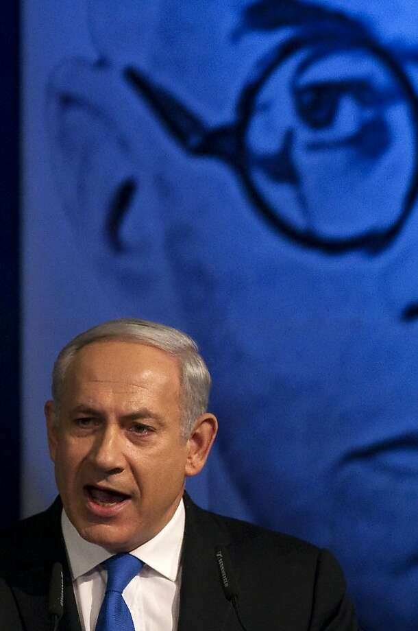 Israeli Prime Minister Benjamin Netanyahu delivers a speech during a meeting of his Likud party in Tel Aviv on May 6, 2012. Netanyahu called for early elections, suggesting he would seek a September vote instead of waiting until the scheduled October 2013 date. AFP PHOTO / JACK GUEZJACK GUEZ/AFP/GettyImages Photo: Jack Guez, AFP/Getty Images