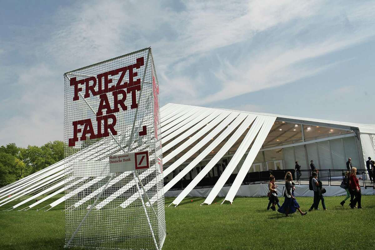 NEW YORK, NY - MAY 04: The tent holding the first New York Frieze Art Fair is viewed on May 4, 2012 in New York City. Held on Randalls Island, a short water taxi or car or bus ride from Manhattan, the London based arts fair will display 182 contemporary galleries from 30 countries under a 250,000-square foot tented venue, designed by Brooklyn architects SO-IL. The four day event also features numerous cafes and a sculpture garden.