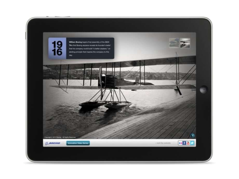 The first Boeing airplane, the B&W, as depicted in the company's Milestones in Innovation iPad app, released on Monday May 7, 2012. Photo: PRNewsFoto/Boeing / BOEING
