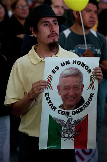 A supporter of Democratic Revolution Party (PRD) presidential candidate Andres Manuel Lopez Obrador