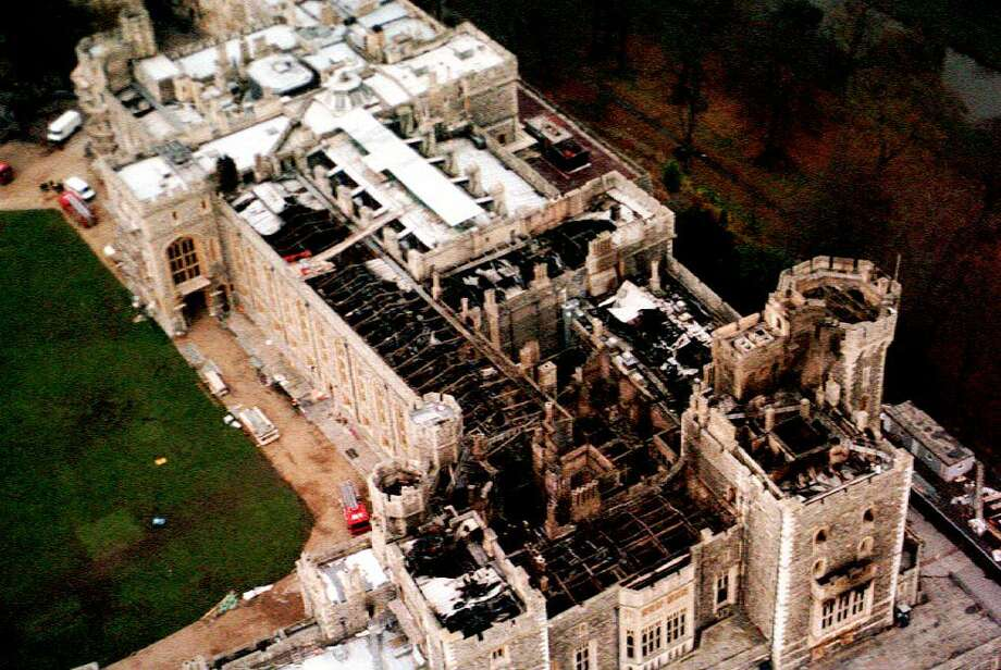An aerial view on November 23, 1992, shows the fire damage to Windsor Castle. Photo: DAVID GILES, AFP/Getty Images / AFP