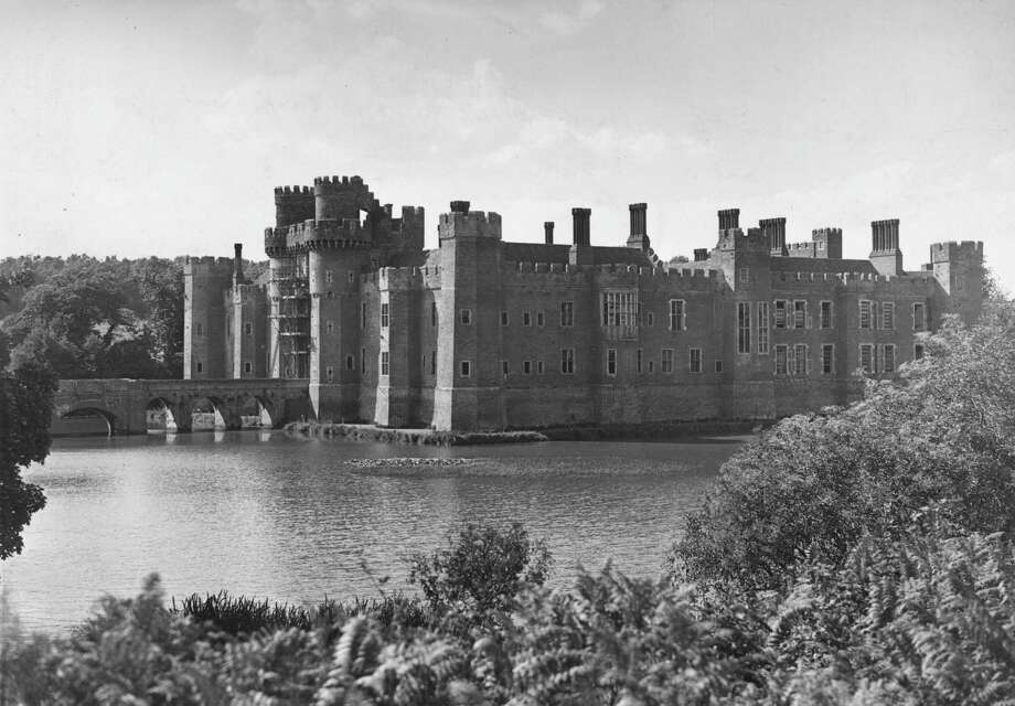 The South and East fronts of Herstmonceux Castle, in Hailsham, Sussex, U.K., is shown in July 1949. Photo: George W. Hales, Getty Images / Hulton Archive