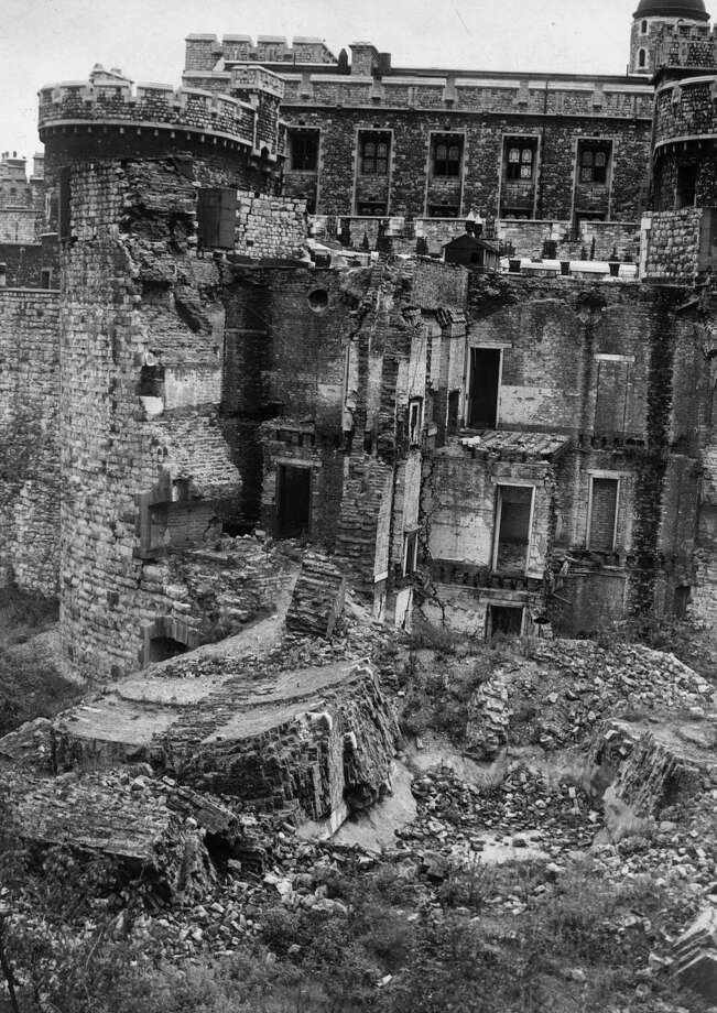 The North Bastion of the Tower of London is shown on December 19, 1945. It still shows damage from a 1940 bombing raid. This bastion was built in 1848 to combat the Chartist riots. Photo: William Vanderson, Getty Images / Hulton Archive