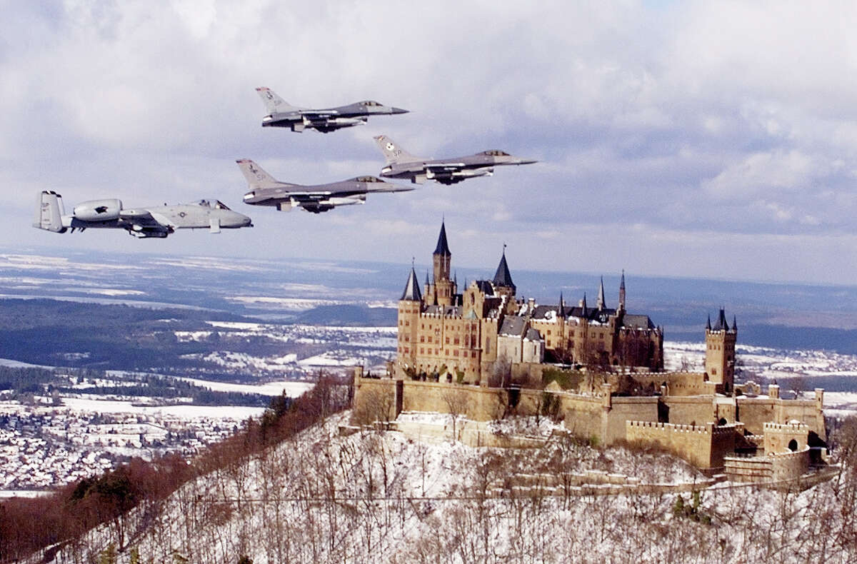 U.S. Air force jets fly over the landmark castle along the Mosel River in Germany on February 17, 2000.