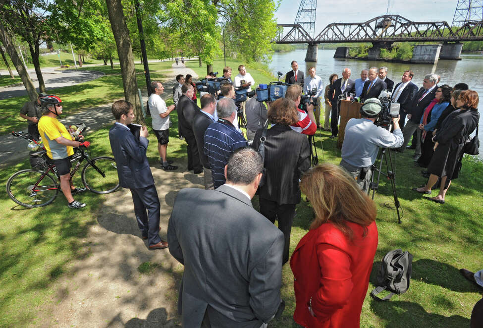 U.S. Senator Charles Schumer holds a press conference at the Corning Preserve Monday, May 7, 2012 in Albany, N.Y. Schumer is urging CSX, NYS Department of Transportation and Amtrak to include a pedestrian-friendly walkway as they set to develop plans to replace the Livingston Avenue rail bridge that links Albany and Rensselaer.(Lori Van Buren / Times Union)