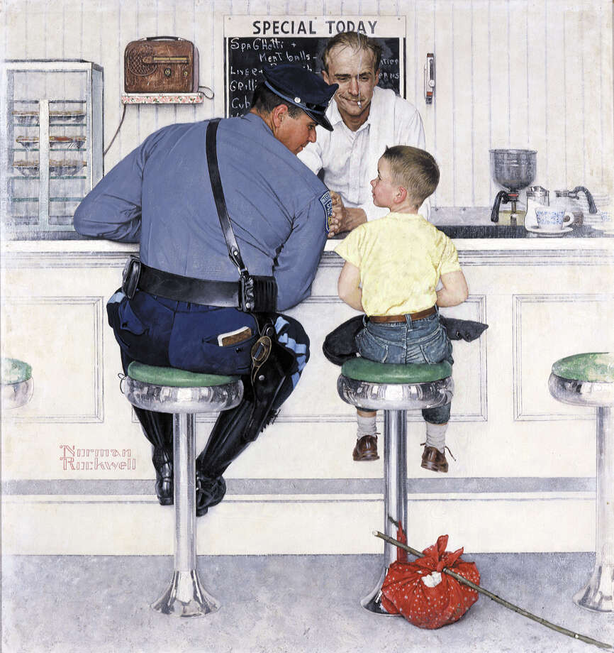 "Richard Clemens, a retired state trooper from Massachusetts, had lived in Clifton Park since 1984. In 1958, Clemens posed for Norman Rockwell's iconic painting. Clemens died Sunday at age 83. ""The Runaway,"" Norman Rockwell, 1958. Oil on canvas, 35 3/4"" x 33 1/2'"" Cover illustration for ""The Saturday Evening Post,"" September 20, 1958. Norman Rockwell Museum Collections. ©1958 SEPS: Curtis Publishing, Indianapolis, IN / Norman Rockwell Museum"