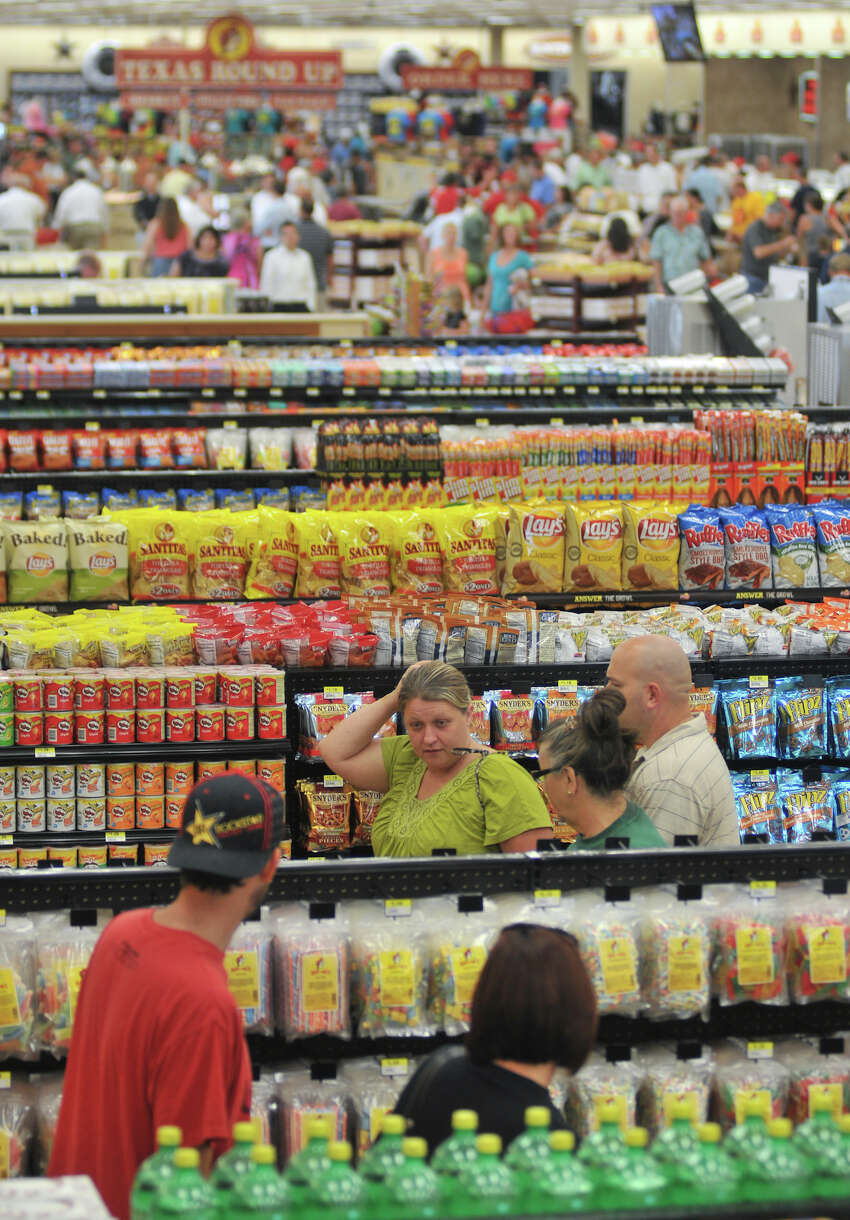 Shoppers descend on New Braunfels' Buc-ee's store on opening day, Monday, May 7, 2012.