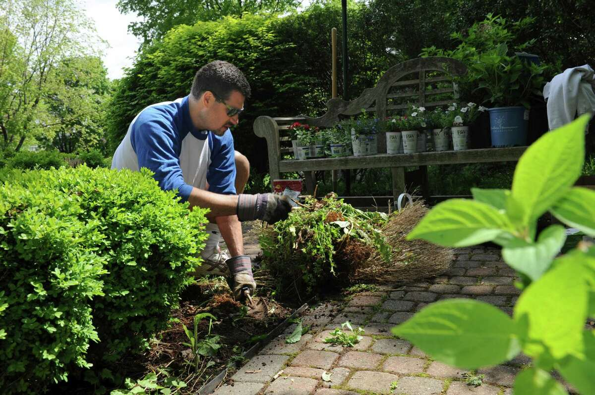 """Andrew Cohen works at the 9/11 memorial garden at Jewish Family Services Sunday, May 6, 2012. Congregation Shir Ami held a weekend of community service awareness and action called """"Tikvah Weekend."""""""